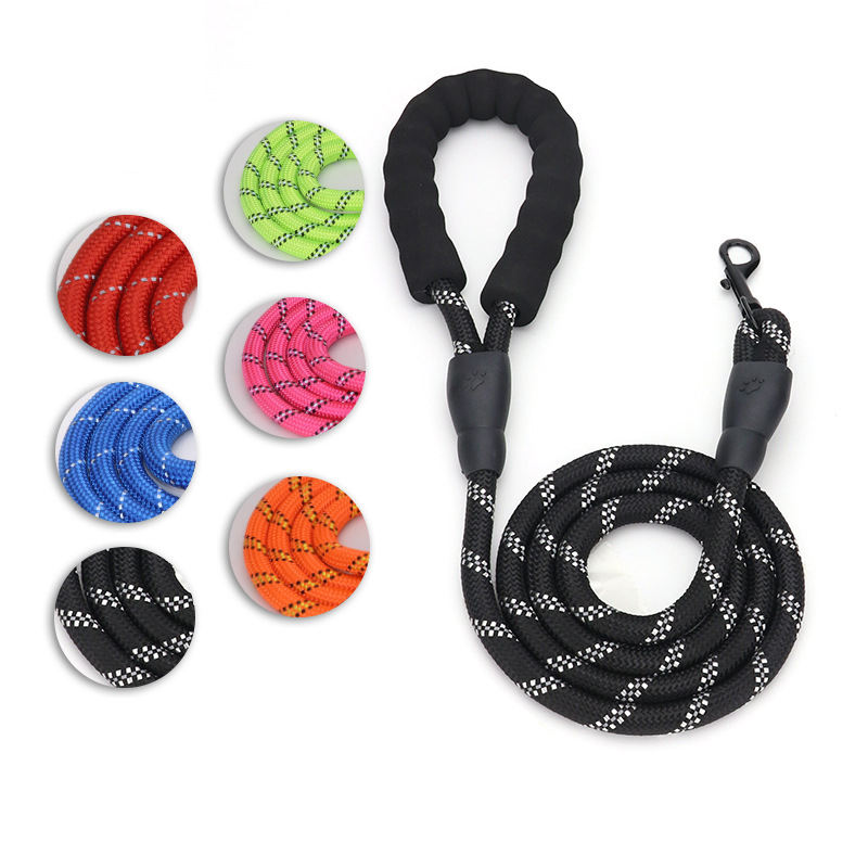 heavy duty Reflective nylon Strong Durable rope Dog Leash with Comfortable Padded Handle for Dogs//