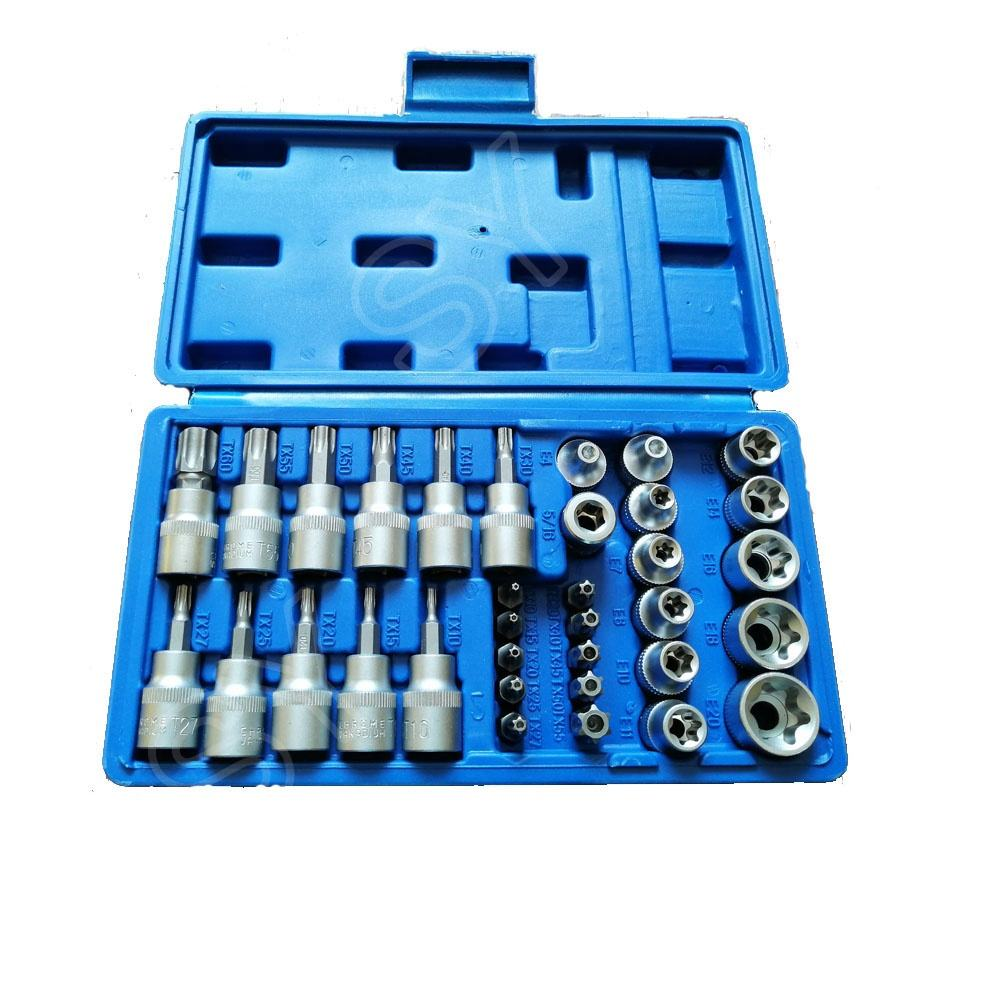 "34 Pcs 3/8 ""Dr Ster Bit Socket &"" E ""Socket Set Automotive Reparatie Tools"