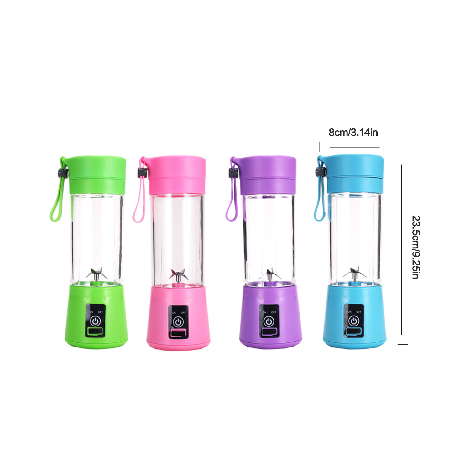 2020 Newly Design household Portable Juicer Blender Household Fruit Mixer- Six Blades in 3D 380ml USB Juicer Cup