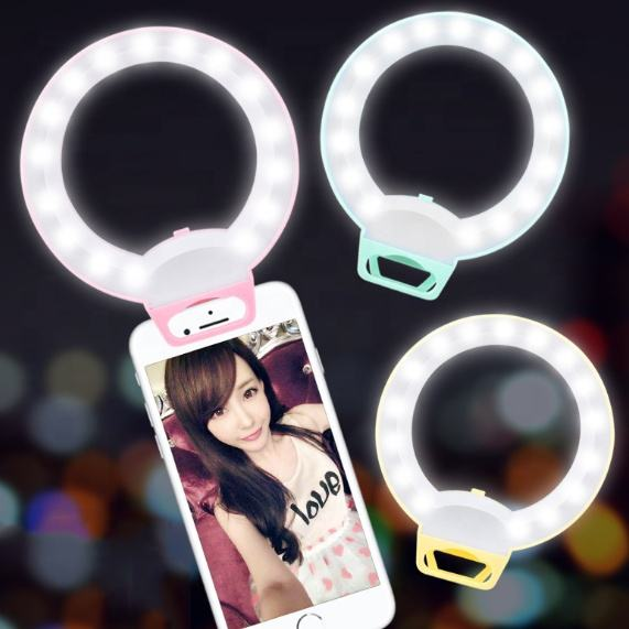 Rechargeable Camera Selfie Ring Light Flash Mobile Cell Phone Sefie Fill LED Light with 3 modes