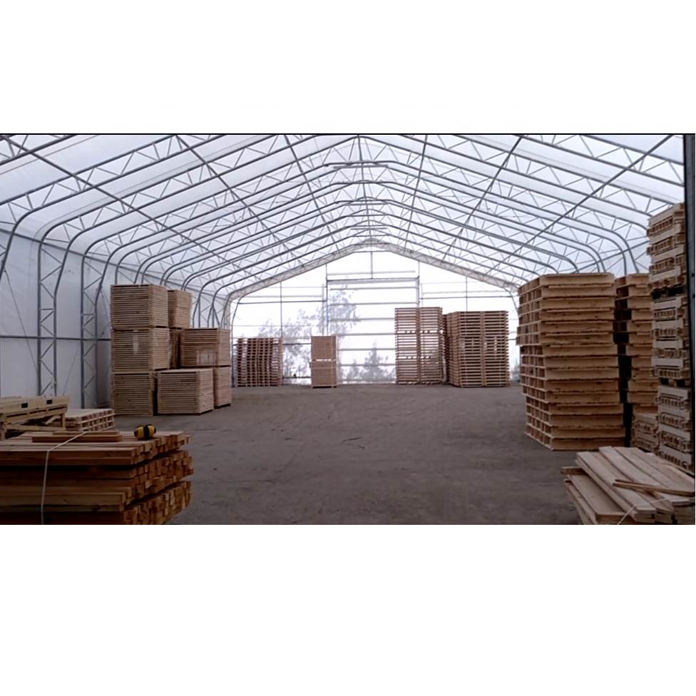 large span 50 foot wide PVC warehouse storage tent, heavy duty steel frame, wind snow proof