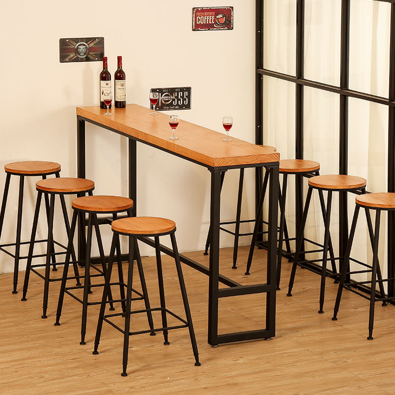 American Vintage Solid Wood Table Simple Cafe Table And Chair Combination Metal High Legs Long Table Bar Counter