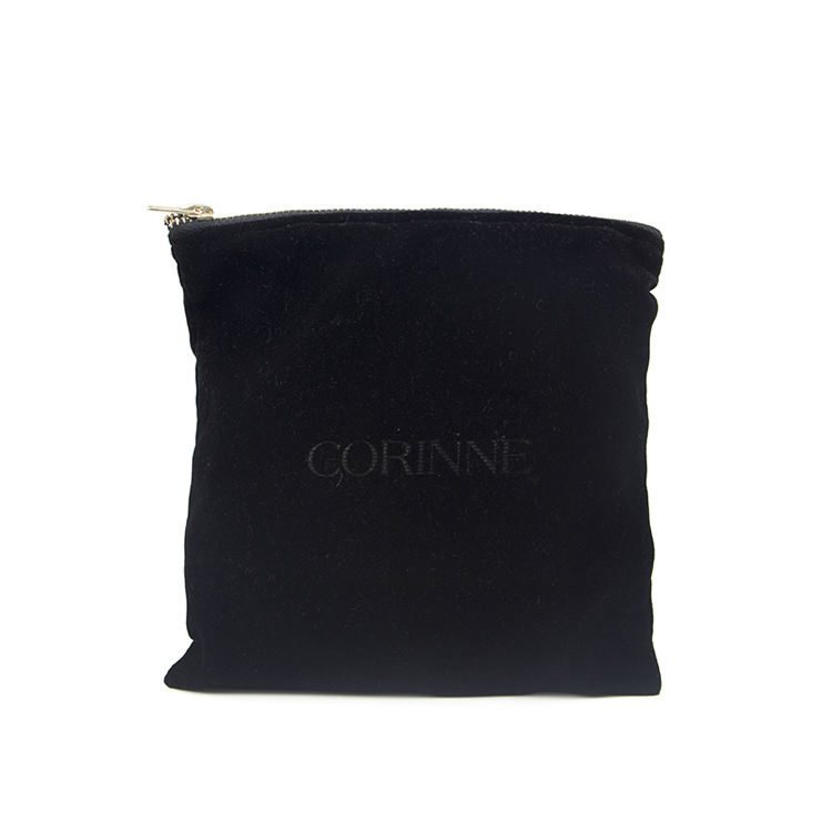 Custom Black Fabric Luxury Evening Watch Gift Shopping Hair Packaging Makeup Velvet Cosmetic Bag With Zipper