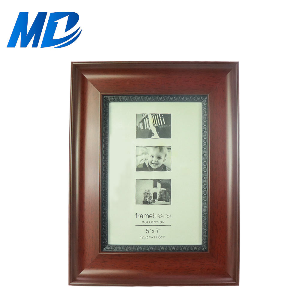 4x6 PS Picture Frame Plastic Glass for Table Top Display and Wall Mounting Photo Frames Brown