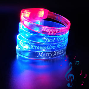 christmas product sound activated Glow up led bracelet for happy concert bar party
