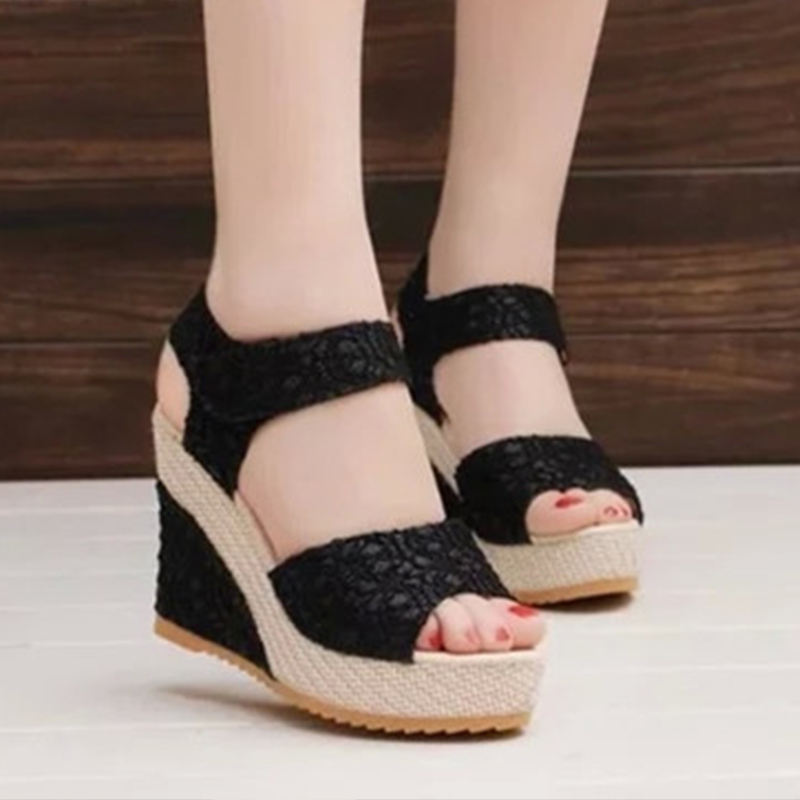 HLS022 casual ladies high quality fashion koreannew sexy dress shoe high heels sandal fancy wedges shoes