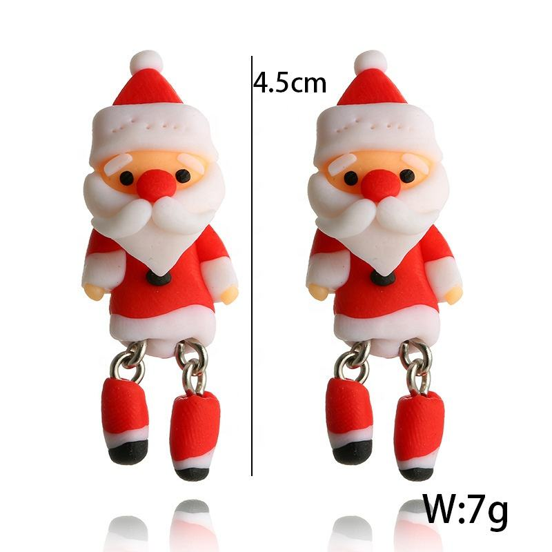 Popular Fashion Jewelry Cheap Statement Santa Claus Cute Stud Drop Christmas Earrings for Presents