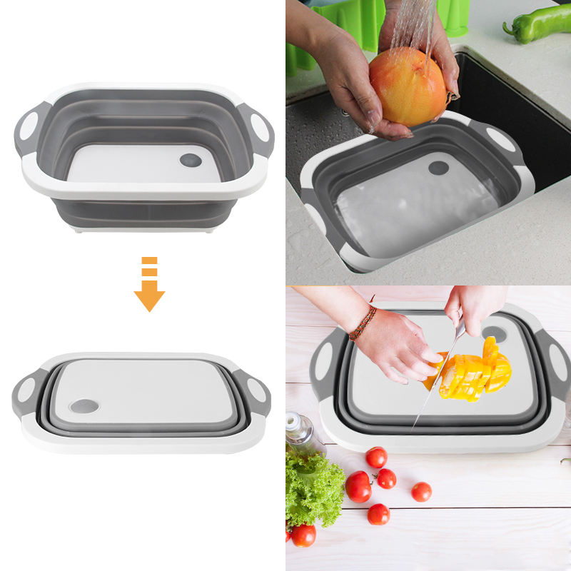 Custom Kitchen Collapsible Cutting Board Strainer Sink Storage Basket with Colander