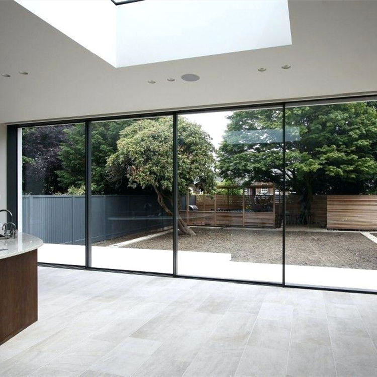 Exterior floor to ceiling windows patio balcony black low e double glazed laminated glass slim aluminium sliding door