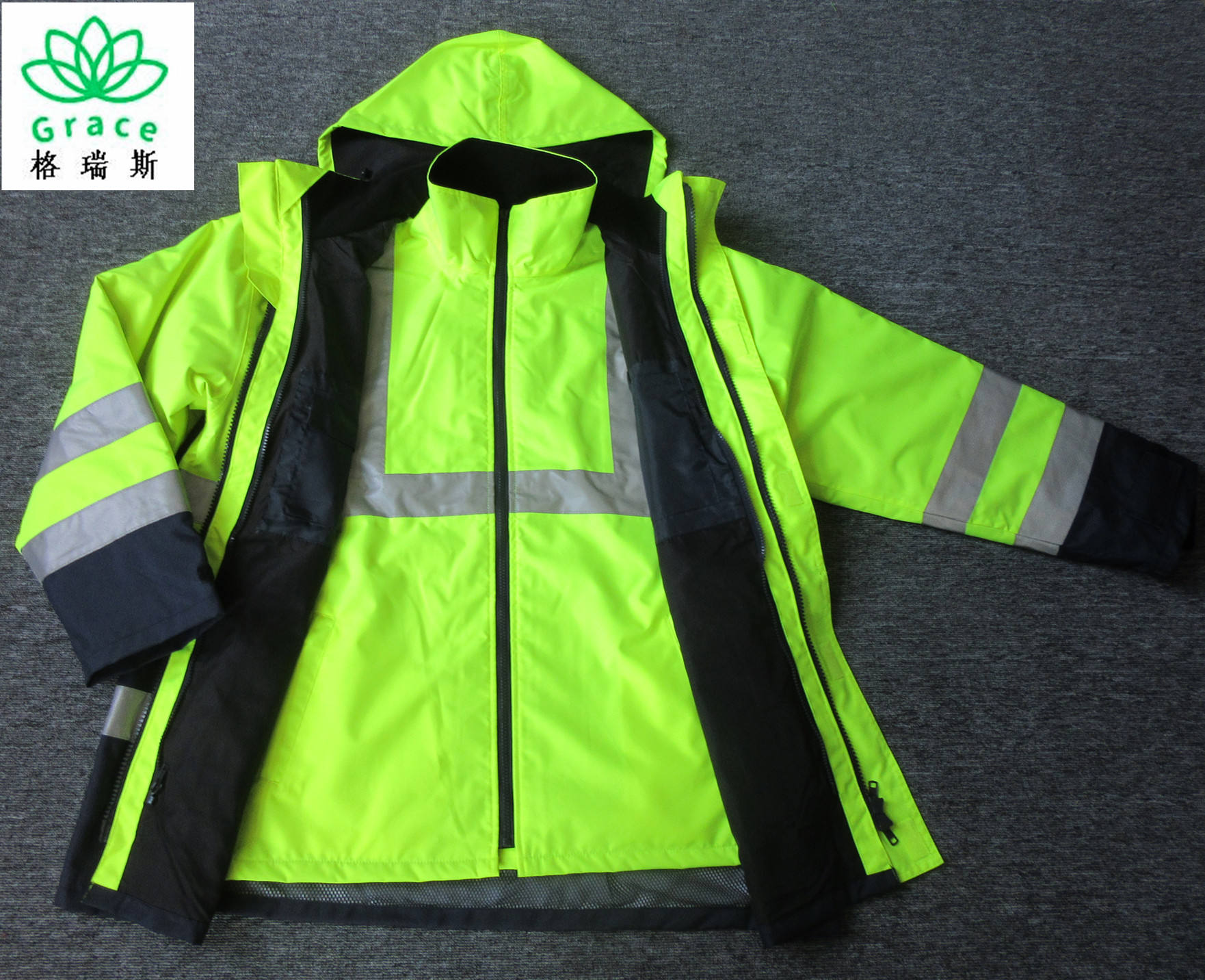 hi viz 3 in 1 safety jacket men's workwear