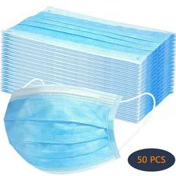 50Pcs Disposable Face Mask 3 Ply Filter with Elastic Earloop, 3 Layer Filter Safety Dust Mask Soft Face Cover Blue