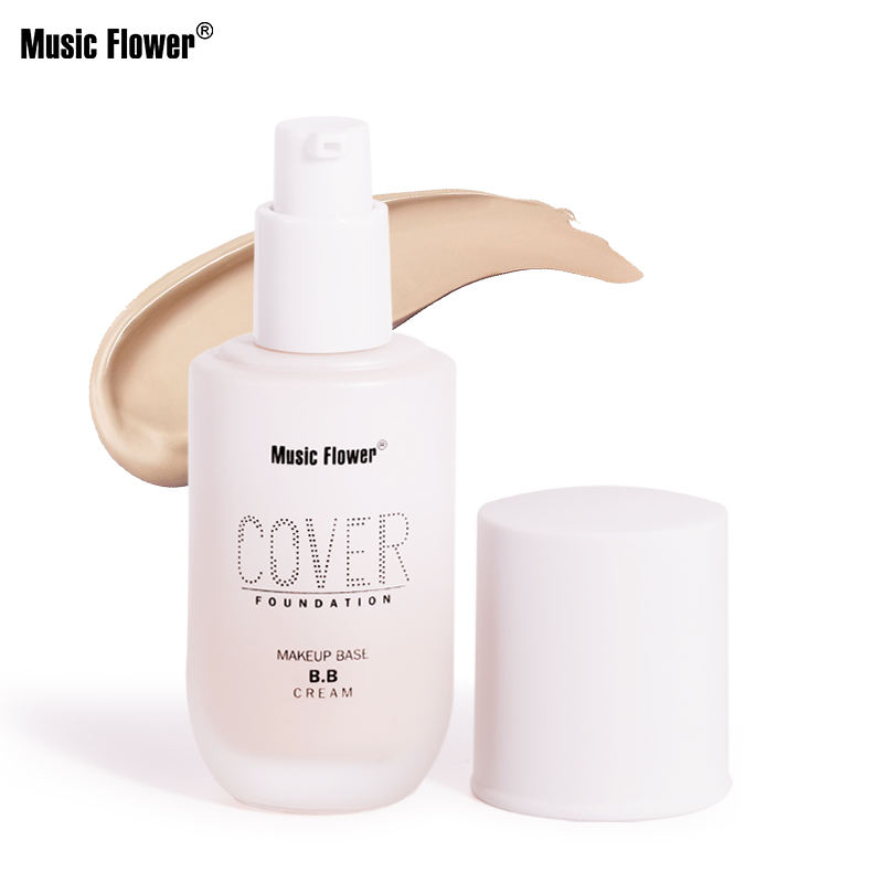 Music Flower 2020 New Launched Full Coverage Long lasting Oil control Waterproof Cream Glass Bottle OEM Makeup Foundation