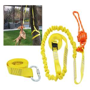 Outdoor Hanging Bungee Dog Toy Interactive Tether Tug Toy with Chew Rope Toy Durable Tugger for Tug of War