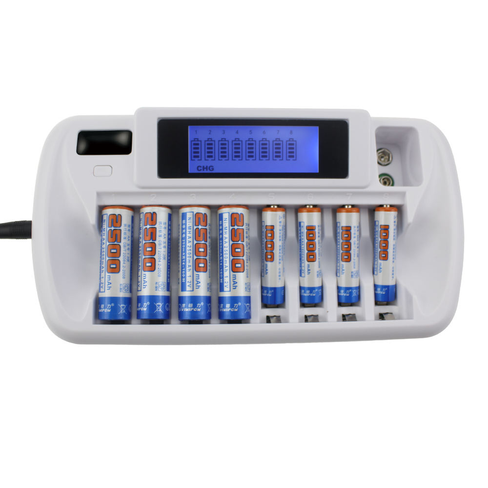 2020 new arrivals battery charger Ni-MH Ni-Cd AA AAA Rechargeable Smart Battery Charger 8 slots with Adapter