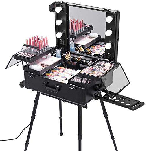 "Rolling Makeup Case 27x18x9"" with LED Light Mirror Adjustable Legs Detachable Wheel Train"