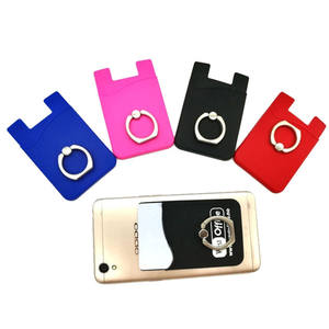 Wholesale high quality silicone card holder pure color phone card clip