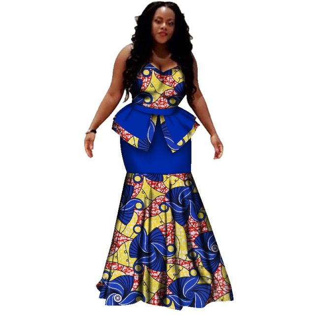 African print women sleeveless tops and skirts set fashion pattern ladies dashiki sets for party/wedding Africa Clothing WY2428