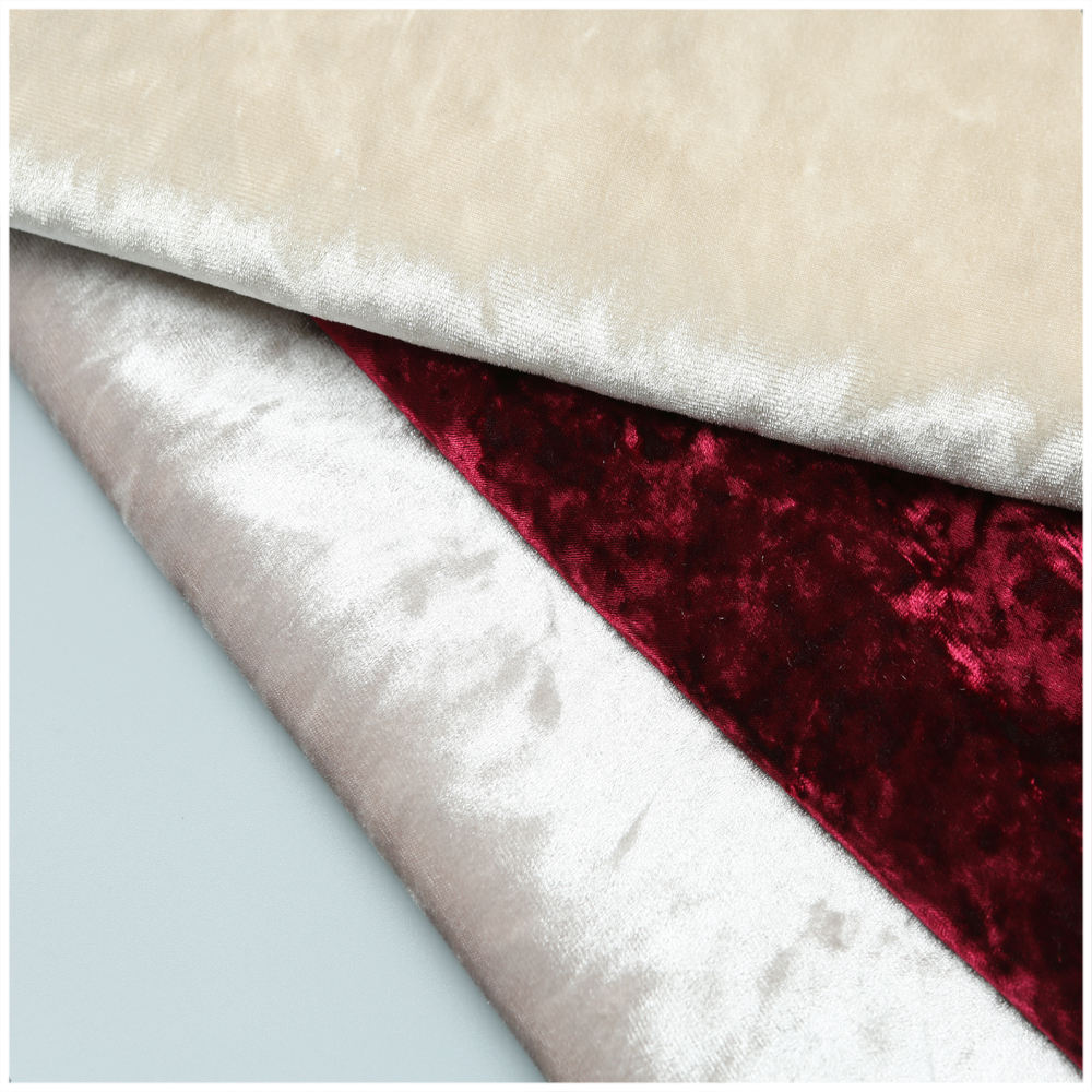 Polyester Spandex Stretch Crushed Velvet Fabric Ice Silk Fabric for upholstery garment decoration