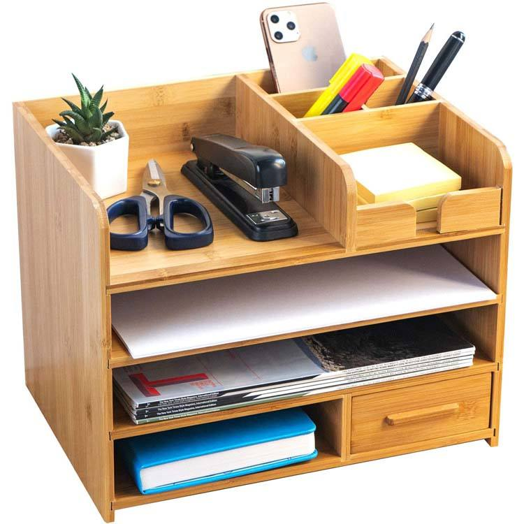 4 Tiers Bamboo Office Desk Notepad Organizer Holder with Storage Drawer