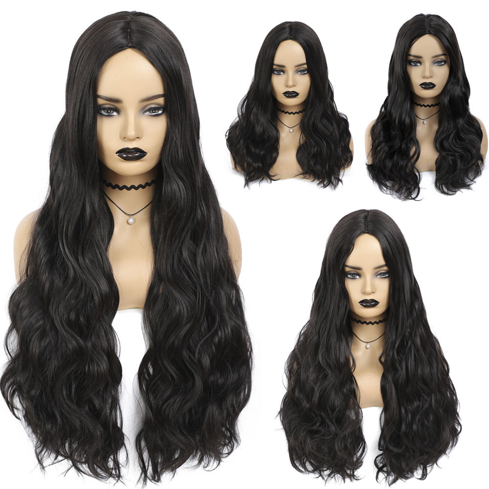 X-TRESS Black Colored Synthetic Hair Wigs Soft Body Wave Long Length Machine Made Cheap Wigs For Women Cosplay Wigs