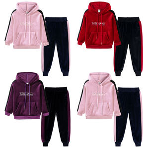 Velour hoodie and pants fashion kids clothing set fall girl child sweat suits