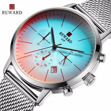 REWARD RD82004M 2019 New Men's Wrist Watch Waterproof Full Steel Chronograph Watch Men Fashion Auto Date Quartz Clock