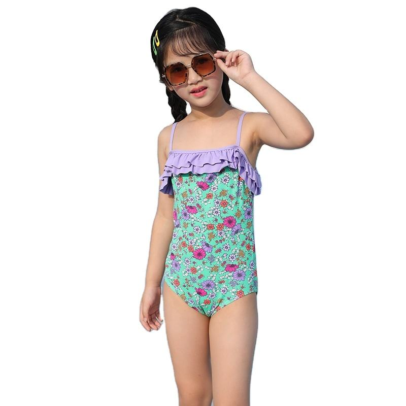 Girls' swimwear one piece middle and big children's quick drying South Korea summer lovely Floral Print Swimwear