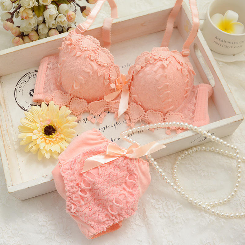Lovely Girls Lace Bra Panty Sets Cute Japanese Underwire Push Up Lace Bra Set