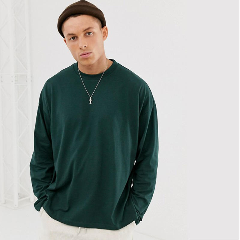 Discount Price Ribbed Round Neck Loose Split Hem Plain Dropped Shoulders Full Sleeve T Shirt for Men