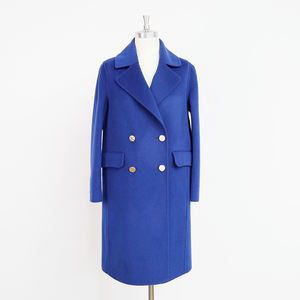Spring and autumn winter long lake blue suit collar metal double breasted cuffs slit ladies wool coat