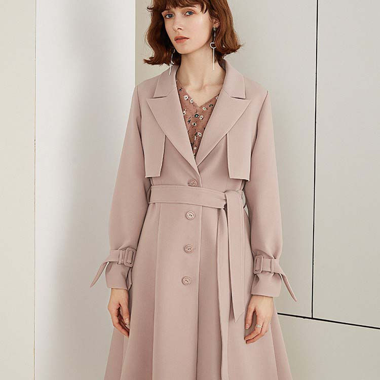2019 spring new women's trench coat long temperament jumpsuit skirt jacket solid color suit collar, trench coat
