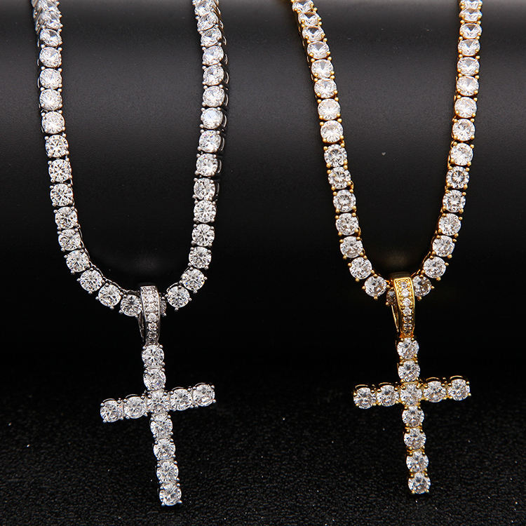 4mm Hiphop zirkoon cross tennis chain ketting diamond tennis ketting kruis