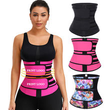 Custom Logo Double Compression Belt Slimming Latex Waist Trainer Corset Black Private Label Waist Trainer