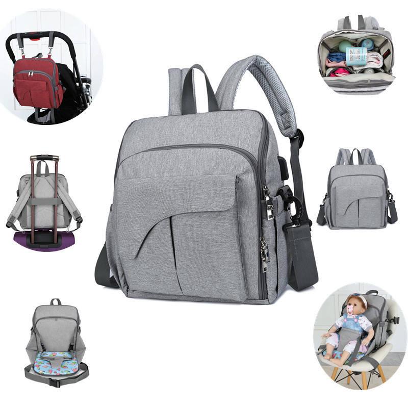 حقيبة ظهر للحفاضات متعددة الوظائف للسفر مع حشية متغيرة
