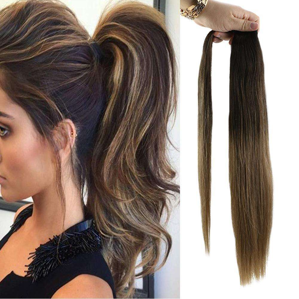 Wholesale top selling products double drawn raw hair ponytail synthetic