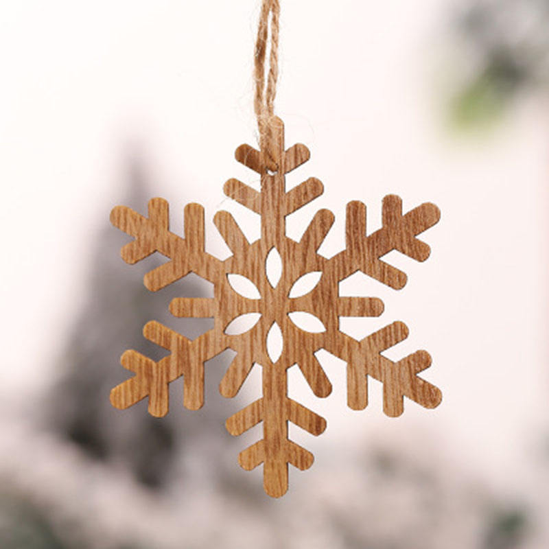 Christmas wooden craft gift Christmas tree home decor Wood color pendant jewelry carving wood chips
