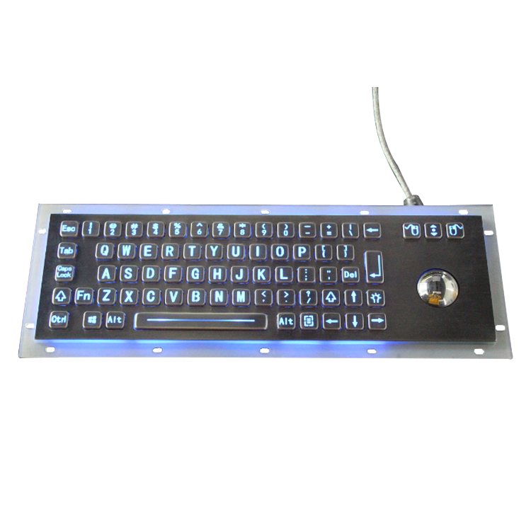 IP65 Industrial Metal Rugged Keyboard with trackball , Desktop computer keyboard