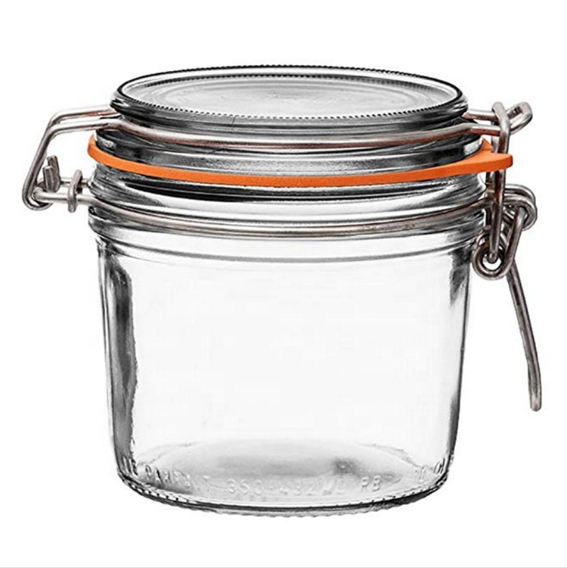 Avertan 8oz 250ml French Round Body Airtight Rubber Seal Glass Lid Pint Stainless Wire Glass Canning Jar