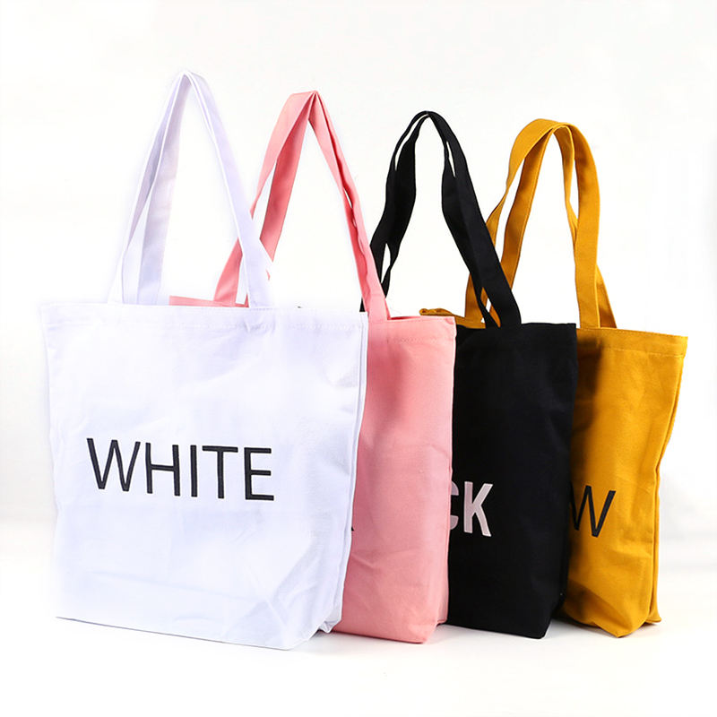 Custom printed recycle organic cotton canvas tote bag bulk large reusable canvas cotton shopping bag with logo