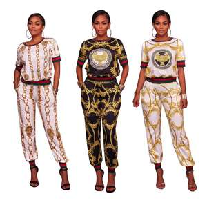 Autumn Spring Printed 2 Piece Set For Women Long Pants 2 PC Set Lady Casual Two Piece Pants Set