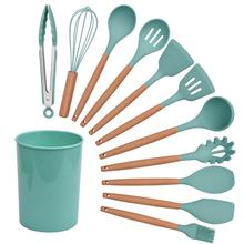 New Arrival  Ins Style Colorful Food Grade Silicone 12pcs Wooden Handle Kitchen Utensil Set with Holder