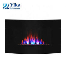 220V Wall Mount Vertical Electric Fireplace Space Heater with Tempered Glass