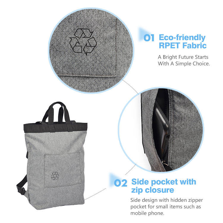 Eco-friendly RPET Eco-Friendly Tote Backpack Recycle Shopping Bag