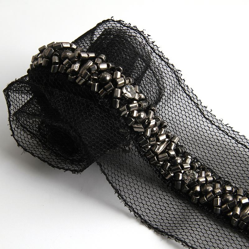 Wholesale polyester pearl lace pearl beaded lace black organza bag pearl lace trim
