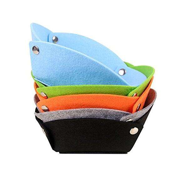 Folding Wool Felt Valet Tray or Desktop Travel Storage Basket Box or Wallet Keys Storage Tray