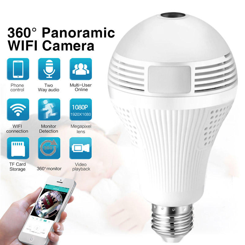 Wireless IP Camera Bulb Light WiFi Fisheye 1080P 360 degree Mini Camera 1.3MP Home Security WiFi Panoramic Camera Lamp