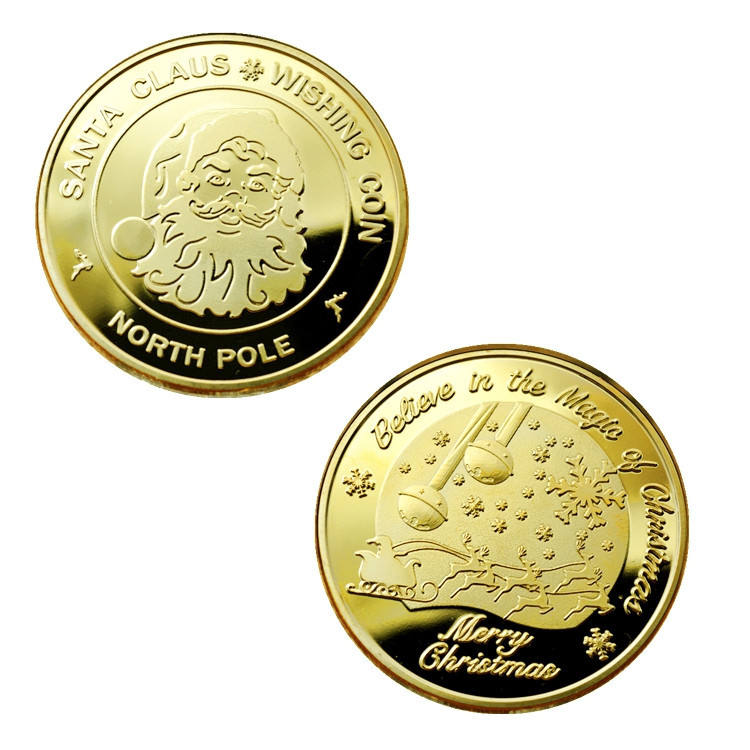 SANTA CLAUS Wishing Coins, Merry Christmas Happy Holidays North Pole Gold Plated coin