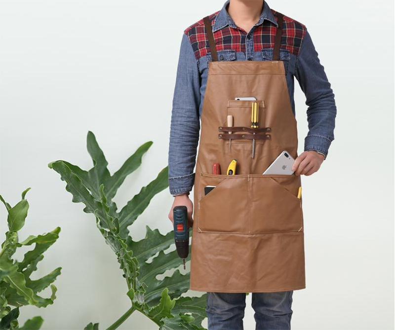 2019 new leather shoulder strap craftsman apron canvas waterproof apron with multi-tool pocket