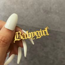 Custom nameplate gold stainless steel babygirl necklace for women