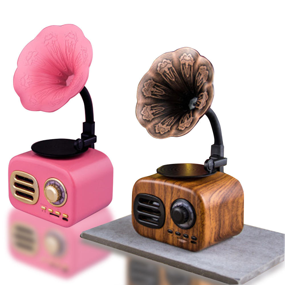 Mini Portable Music Box Outdoor Wireless Retro Phonograph wooden Bluetooth Speaker With Mic TF Card